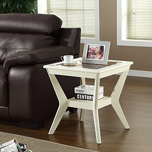 DEO Bureau d'ordinateur Canapé Table d'Appoint Petite Table Basse En Bois Massif Trempé Salon 58 * 58 * 62CM. durable (Couleur : Milky)