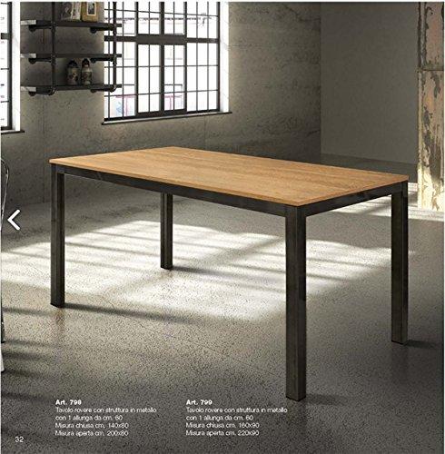 TABLES&CHAIRS tavolo allungabile con piano in rovere e struttura in metallo nero 798