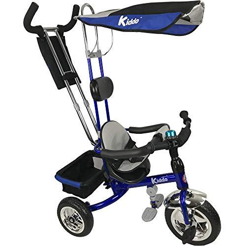 Kiddo Blau Smart Design 4-in-1 für Kinder Dreirad Kinder Trike 3 Räder Fahrrad Eltern Neue (Blau)