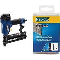 Rapid 5000103 PRO PBS151 Graffatrice/Chiodatrice Pneumatica, Blu & 5000184 No. 8 Chiodi 30 mm, Acciaio