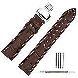 TStrap 22mm Bracelet Montre Cuir Marron Motif Crocodile Avec Boucle Deployante en...