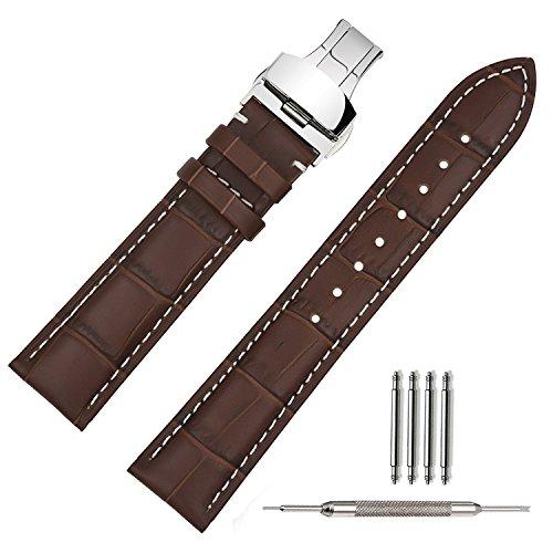 TStrap Uhrenarmband 22mm Leder Braun mit Naht, Bombage Lederarmband für Uhren mit einfacher Naht Uhren Ersatzband mit Edelstahl Faltschließe Faltschliesse