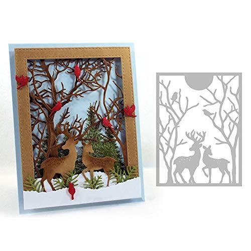 Ruby569y Scrapbooking Prägeschablonen Stanzformen Schablonen,Elk Deer Metal Cutting Dies DIY Scrapbooking Emboss Paper Cards Punch Stencil Silver -
