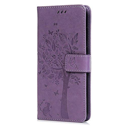 Huawei Mate 10Lite Phone Custodia Premium Morbido PU Alta del Gatto Farfalla con Supporto Porta Carta di Credito ID Slot TPU Bumper Folio Flip