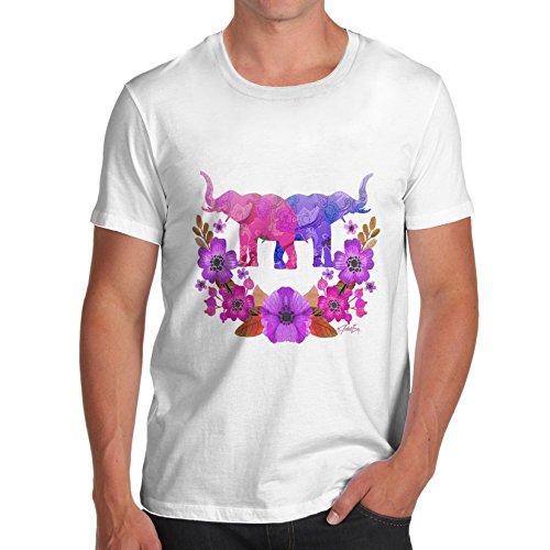 Herren Elephant Flower Power T-Shirt Weiß