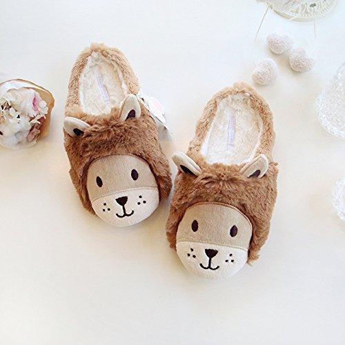 Super carino Lions caldo in autunnale e invernale le pantofole ciabatte di cotone bella coppia calda , brown , 42-43