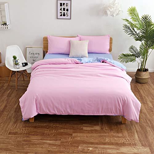 DOLPHINEGG Samtbündel extra komfortabel reaktiven Druck und Färben schlichtem gewebtes vierteiliges Set mit 1 Bogen-Set und Einem Quiltdeckel 2 Kissenbezüge,Pink,Queen
