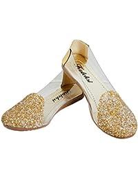 Koleksi Fashionable Transparent Golden Sparkle Party Wear Synthetic Ballerinas For Women Size IND/UK 7/40 Gold