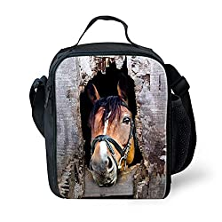 7-Mi Insulated Children Reusable Lunch Bags For Food Children 3D Horse Lunch Tote Box With Shoulder Adjustable Strap