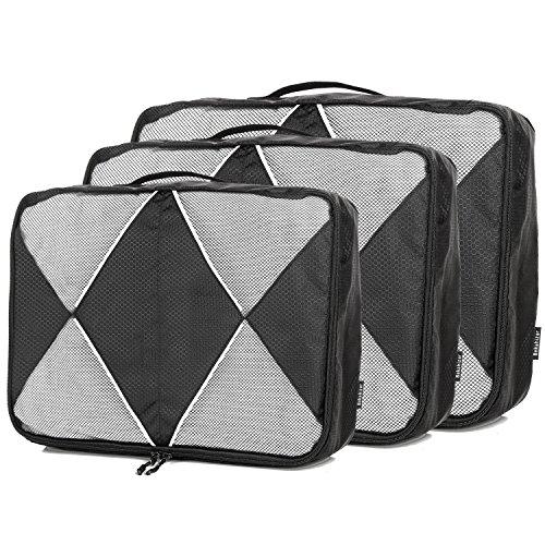 Bekahizar Packtaschen 3-teiliges Set Leichter Kleidertaschen Kofferorganizer Packwürfel Ideal Für Reisekoffer Gepäck Reisetasche Handgepäck Rucksack Sporttasche (Schwarz) (Reisetasche-gepäck-set)