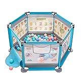 Parc Hexagonal avec Ballon et Matelas, Parc de sécurité pour bébé avec Sac/Porte, barrière de Jeu intérieure/extérieure pour Tout-Petits Bleus, 140 × 65 cm
