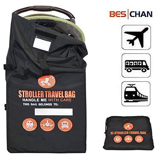 Beschan Verstärkt Standard Doppel XL Kinderwagen Transporttaschen Verdicken Tragetasche Faltbar mit Schulterriemen für Flughafen, Bahnhof, Autofahrten -