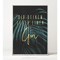 Kunstdruck / Poster GIN -ungerahmt- Typografie, tropisch, Natur, Palme, Pflanze, Blatt