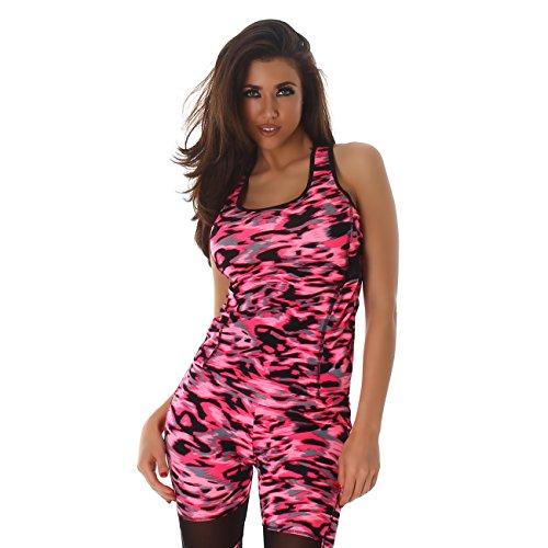 Sportlicher Damen Zweiteiler Set, Sporttop Sport Leggings, in verschiedene Muster Varianten, für vielen sportliche Aktivitäten geeignet Pink MH-65