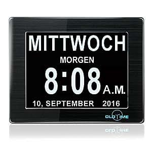 oldtime 8 lcd horloge num rique calendrier avec date jour et heure horloge alzheimer. Black Bedroom Furniture Sets. Home Design Ideas