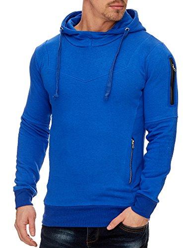 TAZZIO Herren Styler Sweatshirt mit Kapuze Pullover Hoodie 1225 Royalblau