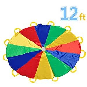 Play Tents Kids Game Play Parachute 12' with 12 Handles Indoor&Outdoor(6-12 kids play)
