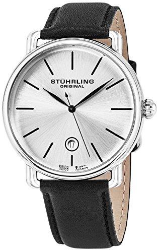 Stuhrling Original classique Robe montre bracelet pour hommes, Swiss analogique en acier inoxydable Montre-bracelet à quartz avec bracelet cuir véritable, cadran Argenté