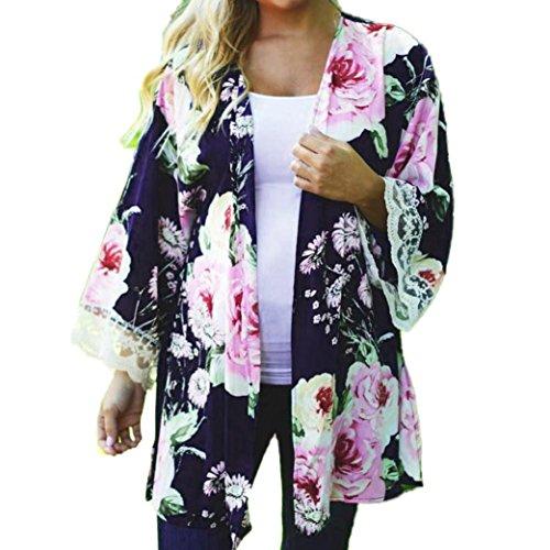 YunYoud Frau Blumen Cape öffnen Beiläufig Mantel Lose Bluse Kimono Jacke Strickjacke (M, Blau) (Brust-kragen Fleece)