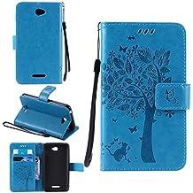 Funda Libro para Sony Xperia E4, Ycloud PU Leather Cuero Con Flip Cover Cierre Magnético Función de Soporte Billetera Case con Tapa para Tarjetas Gato Árbol Mariposa Azul