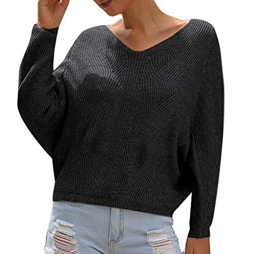 TAMALLU Damen Sweatshirt Modische Casual Einfarbig Gestrickter V-Neck Warm Sweater(Schwarz,S) -