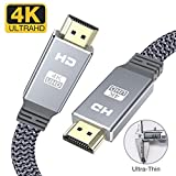4K HDMI cable 2m-Snowkids flat hdmi to hdmi lead/cord high speed Ultra 18Gbps