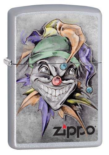 Zippo 205 60002718 PL Joker Benzinfeuerzeug, Messing, Satin Chrom, 1 x 3,5 x 5,5 cm