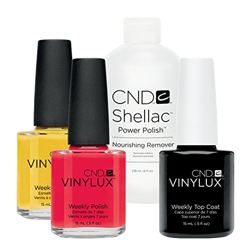 CND Vinylux Lobster Roll plus Bicycle Yellow plus Top Coat 15 ml plus Shellac Remover 236 ml, 1er Pack (1 x 0.281 l)