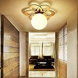 YHJ Plafoniera Camera da letto della lampada giapponese di legno del portico di personalità Ingresso Lampada per bambini Lampada da soffitto creativo Lotus legno Piccolo soffitto ( dimensioni : 34*25CM )