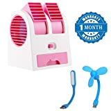 #8: Promptout Latest New Mini Portable Dual Bladeless Small Air Conditioner Water Air Cooler Powered by USB & Battery with USB Mini Fan