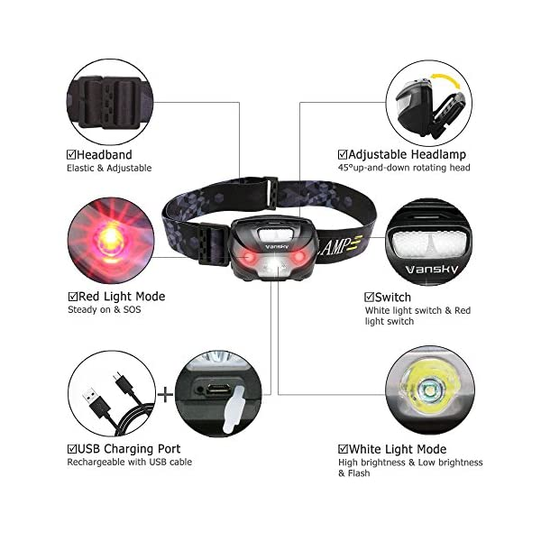 USB Rechargeable LED Head Torch, Vansky Super Bright LED Headlamp, Waterproof Lightweight Hands Free with White & Red Light 5 Modes for Running, Camping, Fishing, Hiking【USB Cable Included】 3