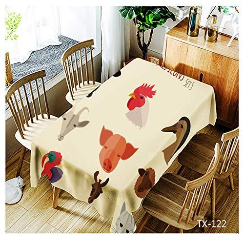 QWEASDZX Tischdecke Kreative Mode Leicht und atmungsaktiv Polyester Rechteckige Tischdecke Wiederverwendbar Ölbeständig und wasserdicht Geeignet für den Innen- und Außenbereich 150x210cm