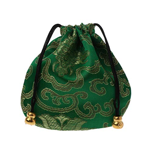 Vivianu Traditionelle Seiden-Reisetasche, klassische chinesische Stickerei, Schmuckbeutel mit Band, verstellbarer Schmuck-Organizer, mehrfarbig grün - Schmuck Organizer Beutel