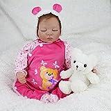 Nicery Reborn Baby-Puppe Weich Simulation Silikon Vinyl 22 Zoll 55 cm magnetisch Mund lebensechte Boy Girl Mädchen Spielzeug Rosa Bär Schlafen Augen schließen