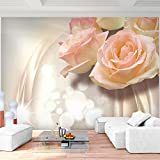Fototapete Blumen 3D Rose Beige 396 x 280 cm Vlies Wand Tapete Wohnzimmer Schlafzimmer Büro Flur Dekoration Wandbilder XXL Moderne Wanddeko Flower 100% MADE IN GERMANY - Runa Tapeten 9129012c