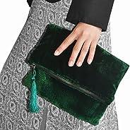 Bespoke Velvet Clutch, Emerald Green Foldover Bag, Fold Over Clutch