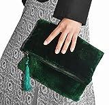Benutzerdefinierte Samt Clutch, Emerald Green Foldover Tasche, Falten über Kupplung