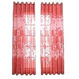 VORCOOL Transparente Voile Vorhänge Gardine Schal Dekoschal für Schlafzimmer Wohnzimmer Größe 100x270cm (Wassermelone Rot)