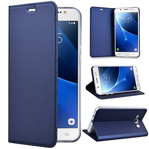 SMART LEGEND Lederhülle für Samsung Galaxy J7 2016 Ledertasche Hülle Blau Schutzhülle Premium PU Leder Flip Case Protective Cover Innere Transparent Weiche Silikon Bookcase Handy Tasche Schale mit Magnet Standfunktion Etui
