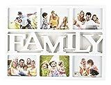 """ARPAN Cornice portafoto con scritta Home"""" oFamily, per 6 foto - White ''FAMILY''"""