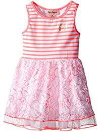 Juicy Couture Girls' Stretch Jersey Stripe Dress with Lace and Mesh on Skirt