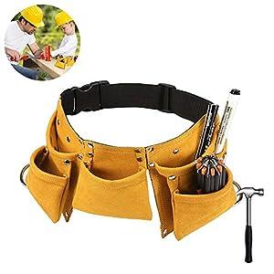 Outtybrave – Herramienta de carpintería ajustable para niños, cinturón de herramientas resistente, herramienta de construcción para niños delantal talla única naranja