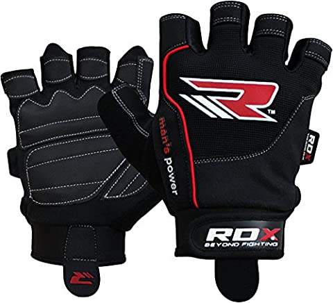 Authentic RDX Gel Weight lifting body building gloves Gym Fitness straps leather Workout Black (Stampato Body)