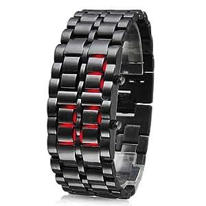 Avilady Montre design digitale samouraï LAVA LED métal noir - Affichage de l'heure en rouge - acier inoxydable carbone - pile incluse