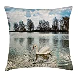 WYICPLO Swan Throw Pillow Cushion Cover, Swan Swimming Alone Water Reflection Winged Feather Bird in Her Habitat Nature Design, Decorative Square Accent Pillow Case, 18 X 18 inches, Blue White