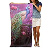 werert Peacock Watching Flowers 100% Polyester Adults Beach Towels Unisex Pool Towel Microfiber Super Absorbent Lightweight for Gym Camping Yoga Beach