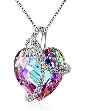 Halskette mit Herz PLATO H Damen Halskette Swarovski Kristall Herzen Anhänger