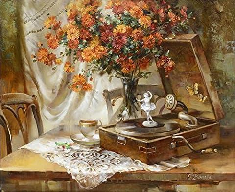 OBELLA Malen nach Zahlen Kits    Orange Gänseblümchen, Kaffee und schöne Märchen Musikbox Blumen Kaffee Musik Box 50 x 40 cm    Malen nach Zahlen, DIGITAL Ölgemälde (Mit Rahmen)
