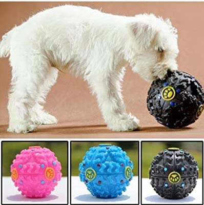 PACK OF 2 Tech Traders Large giggle ball PET dog tough treat training chew sound activity toy squeaky-BLUE & PINK