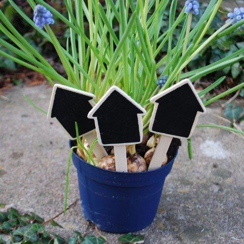 Lot de Trois Étiquettes à Planter en Bois/Ardoise en Forme de Maison. 4.5\\